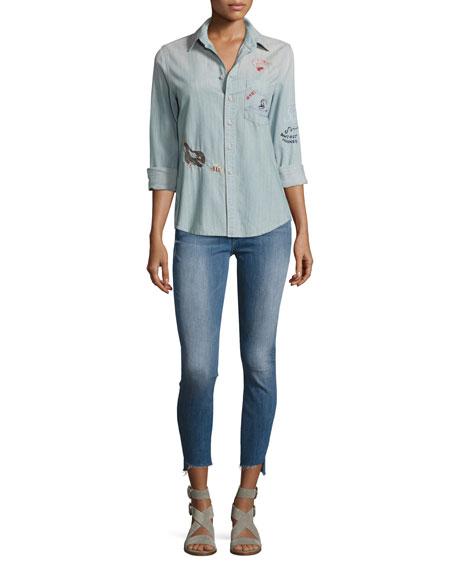 Stunner Zip Ankle Step Fray Jeans, Blue