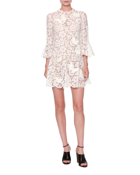 Butterfly Guipure Lace 3/4-Sleeve Dress