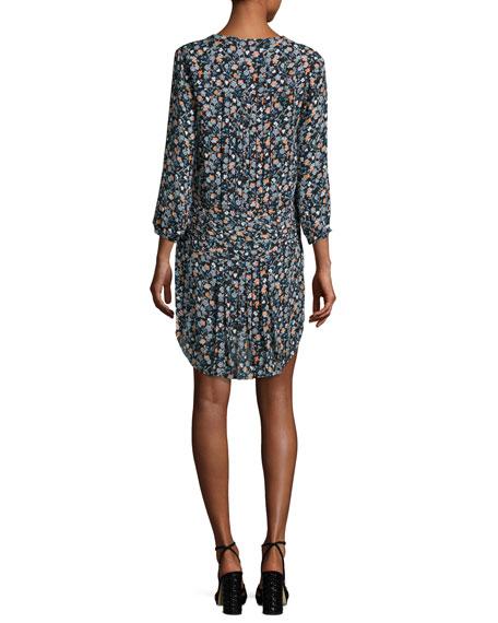 August Pintucked Floral Silk Boho Dress, Black