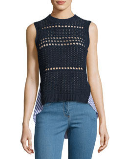Sleeveless Eyelet & Poplin Combo Sweater, Navy