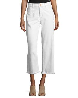 Hepburn High-Rise Cropped Wide-Leg Jeans, Eggshell