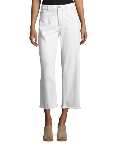 DL 1961 Hepburn High-Rise Cropped Wide-Leg Jeans, Eggshell