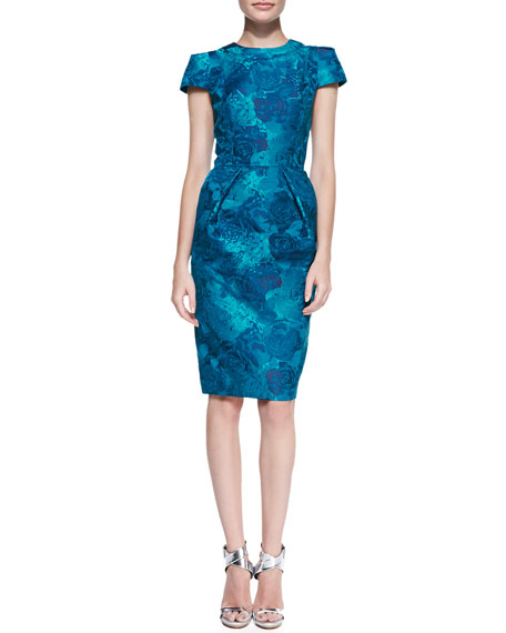 Short-Sleeve Floral Jacquard Sheath Dress