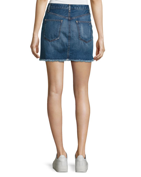 O-Ring Denim Mini Skirt with Staggered Raw Hem, Otto