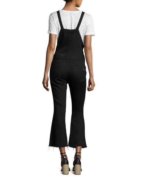 Cropped Kick-Flare Overalls, Coal
