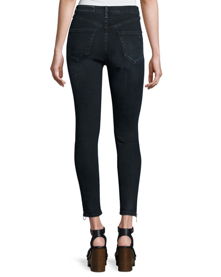 O-Ring Dive Capri Jeans, Black Brook