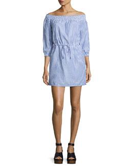 Drew Poplin Off-the-Shoulder Drawstring Dress, Blue/White Stripe
