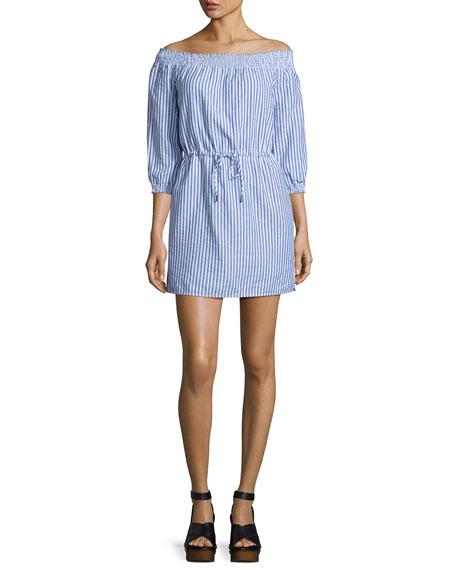 ce78970a0a0 rag & bone/JEAN Drew Poplin Off-the-Shoulder Drawstring Dress, Blue/White  Stripe