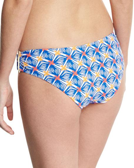Elba Mosaic-Print Bandeau Bikini Swim Bikini Bottom, Multicolor