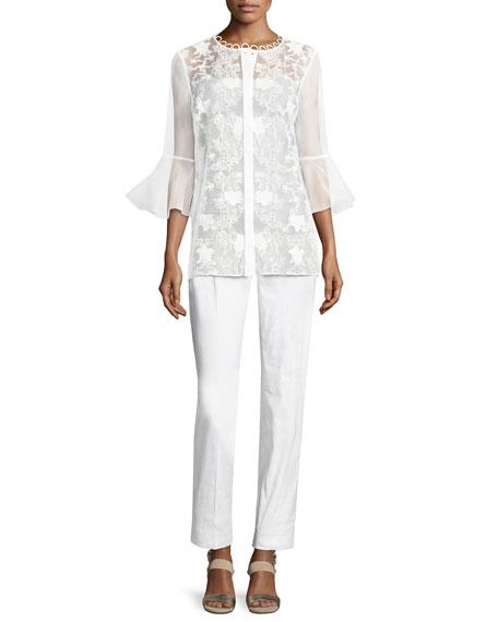 Bennet Linen-Blend Pants, White