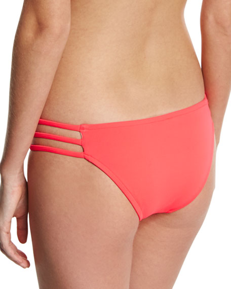 Lanai Italian Solid Strappy Swim Bottom, Pink