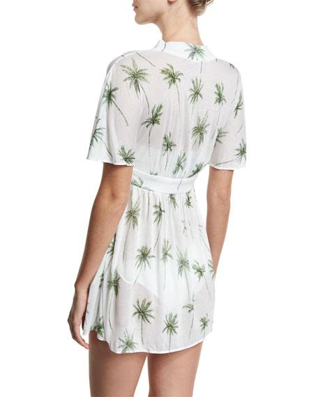 1391e582b0 Milly Bari Palm Tree Printed Coverup Dress, White/Green
