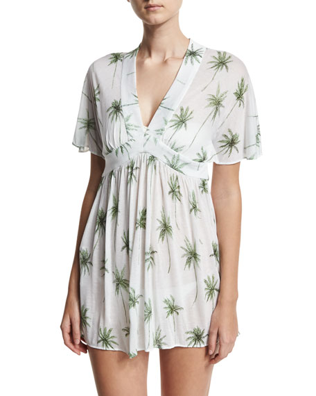 Bari Palm Tree Printed Coverup Dress, White/Green