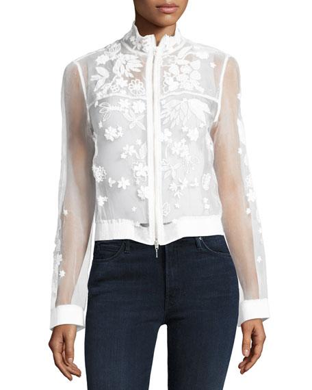 Suri Embellished Floral Silk Bomber Jacket