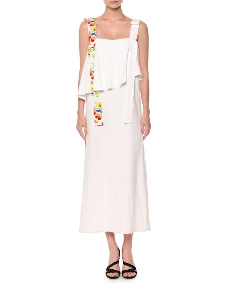 Sleeveless Popover Midi Dress, White