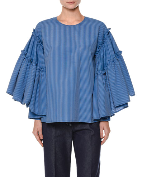 Striped Flowy-Sleeve Seersucker Top, Blue