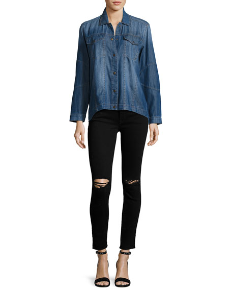 Margaux Instasculpt Skinny Ankle Jeans with Ripped Knees, Rattlesnake
