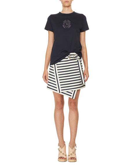 Asymmetric Striped Mini Skirt, White/Blue