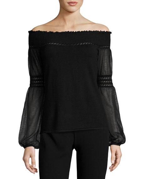 Elie Tahari Rita Off-the-Shoulder Merino Sweater, Black