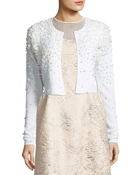 Elie Tahari Gisele Embellished Cropped Merino Sweater, Antique