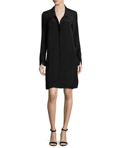 Halston Heritage Long-Sleeve Shirtdress w/ Wide Tie Cuffs,