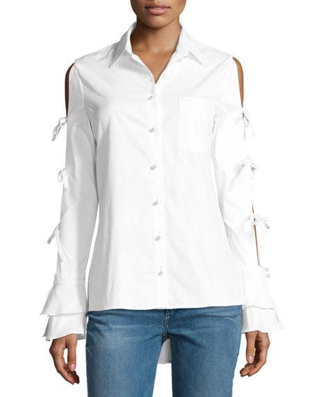 Jonathan Simkhai Pearly-Button Tie-Sleeve Oxford Shirt, White