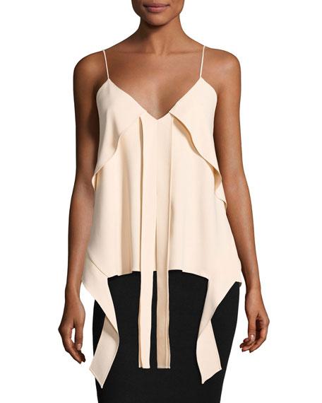Hanging Flare Silk Crepe Top, Blush