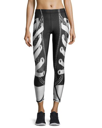 Laces Out Athletic Leggings, Black/White