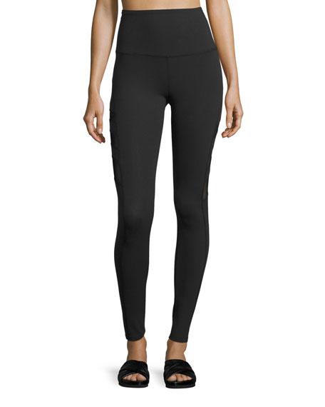 Triple-Mesh High-Waist Long Legging, Black