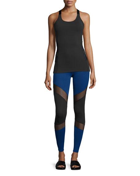 Deco Mirror Paneled High-Waist Long Leggings, Black/Cobalt
