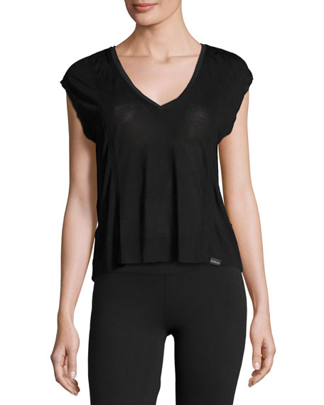 Koral Activewear Click Draped-Back Jersey Crop Top, Black