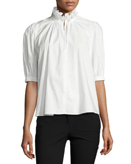 Ruffle-Neck Half-Sleeve Poplin Top, White