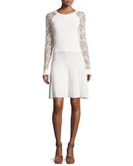 Blake Lace Raglan-Sleeve Dress, White