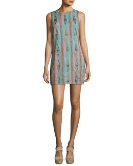 Clyde Embellished Sleeveless Shift Dress, Green