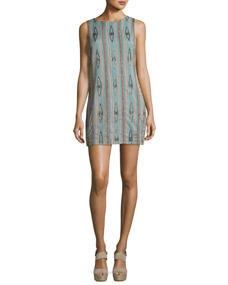 Alice + Olivia Clyde Embellished Sleeveless Shift Dress,