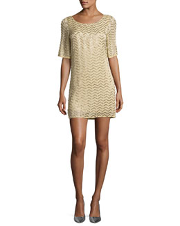 Harlow Embellished Chevron Shift Dress, Yellow Multicolor