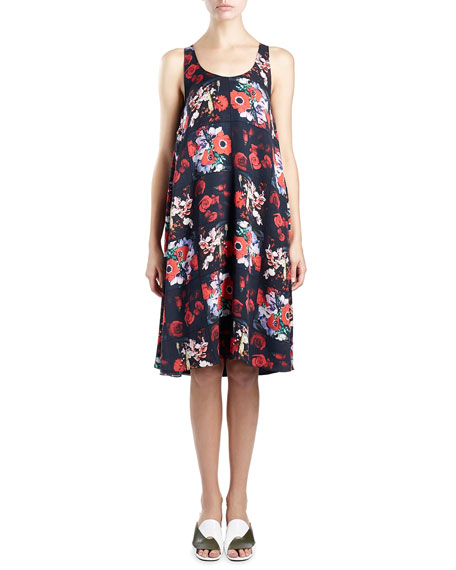 Sleeveless Floral Silk Georgette Shift Dress, Red/Multicolor
