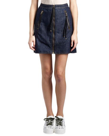 Cotton Denim Zip Mini Skirt, Dark Blue