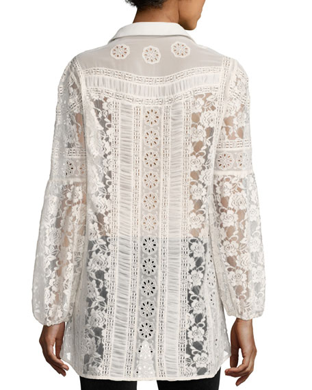 Jill Embroidered Lace Peasant Top