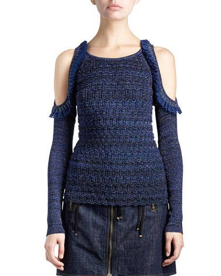 Metallic Cold-Shoulder Ruffle-Trim Stretch Top, Dark Blue