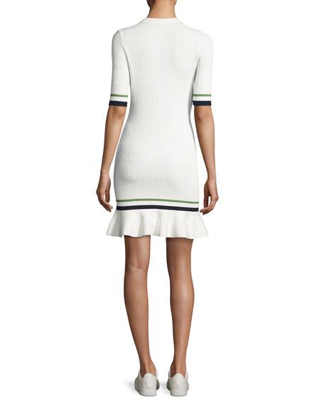 Ace Short-Sleeve Novel Stitch Dress, White