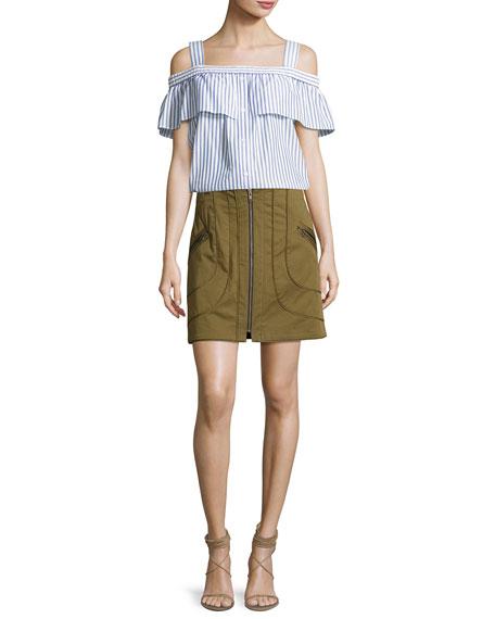 Linda Full-Zip Summer Cargo Skirt, Olive
