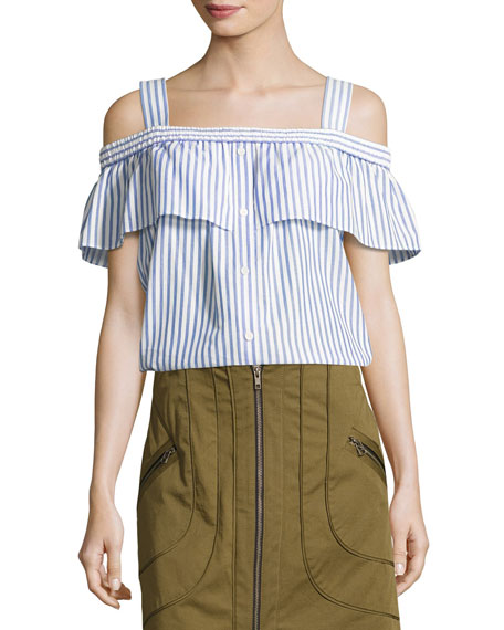 Lacey Striped Cold-Shoulder Top, Blue/White
