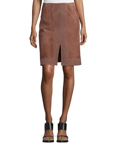 Riva Embellished Suede Skirt