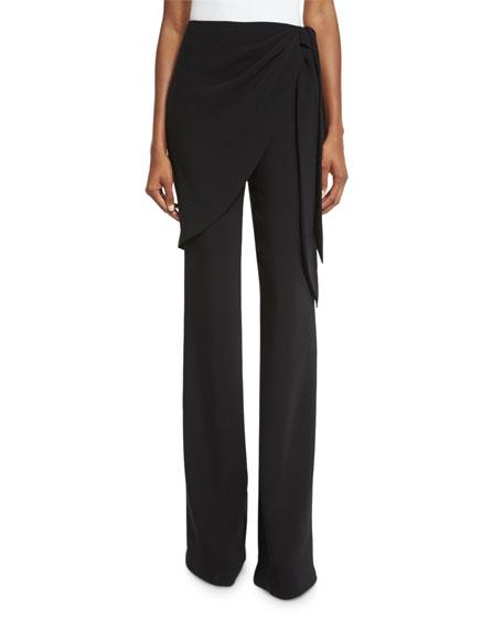Casablanca Wrap Straight-Leg Trousers, Black