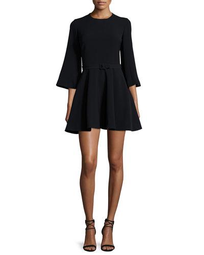 Elva 3/4-Sleeve Fit-&-Flare Dress, Black