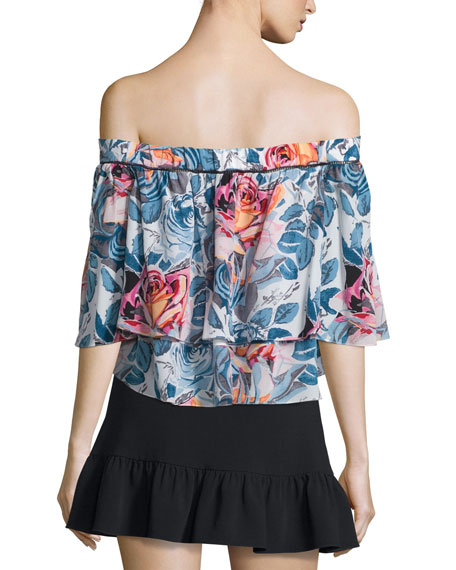 Vanessa Off-The-Shoulder Floral-Print Top, Multi Colors