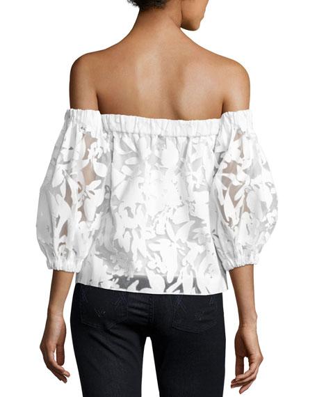 Off-the-Shoulder Floral-Burnout Blouse, White