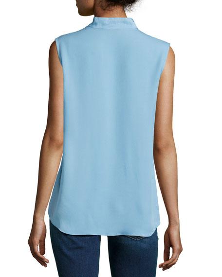 Marlow Sleeveless Silk Blouse, Light Blue