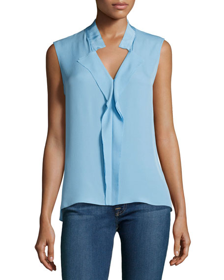Marlow Sleeveless Silk Blouse, Light Blue